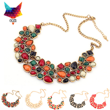 5 Color New Statement Choker Fashion Temperament Crystal Gem Flower Collar Rhinestone Necklaces&Pendants For Women Jewelry(China (Mainland))