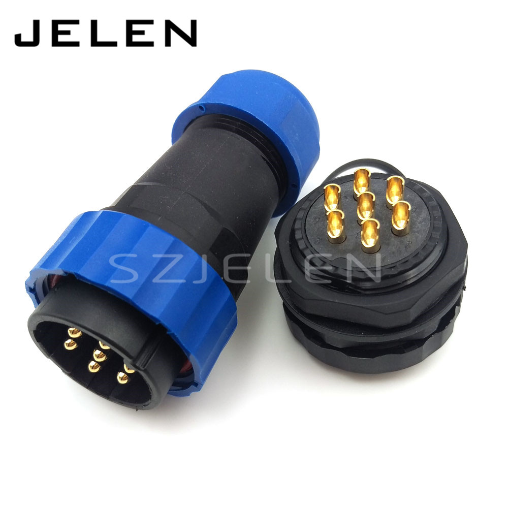 SD28TP-ZM, waterproof connector 7 pin Male and 7 pin female,IP67,8-15mm LED power cable wire connectors, Panel cutout 28mm(China (Mainland))