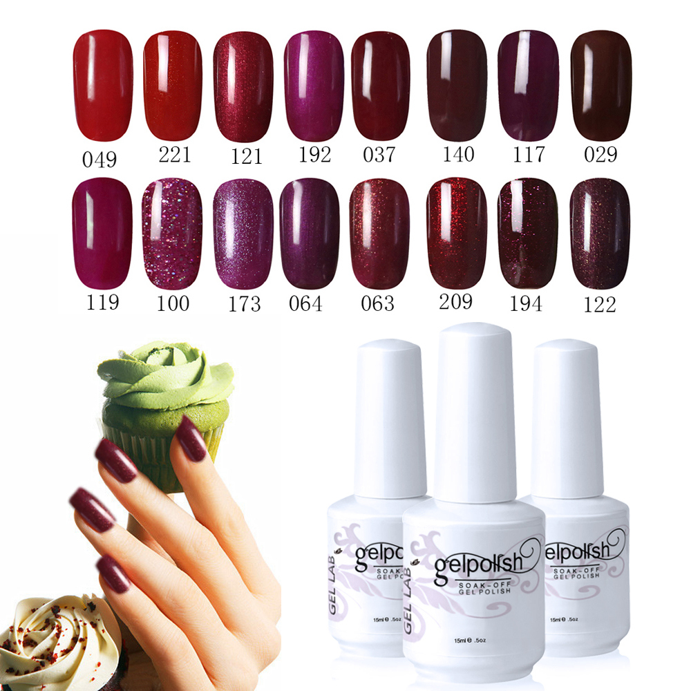 GEL LAB 15ml Hot Sexy RED WINE Series Soak Off Gel Nail Polish Primer Foundation Choose Any 1 From 32 Colors(China (Mainland))