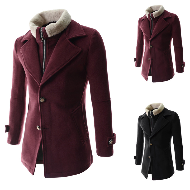 fashion 2colors breasted winter wool blends