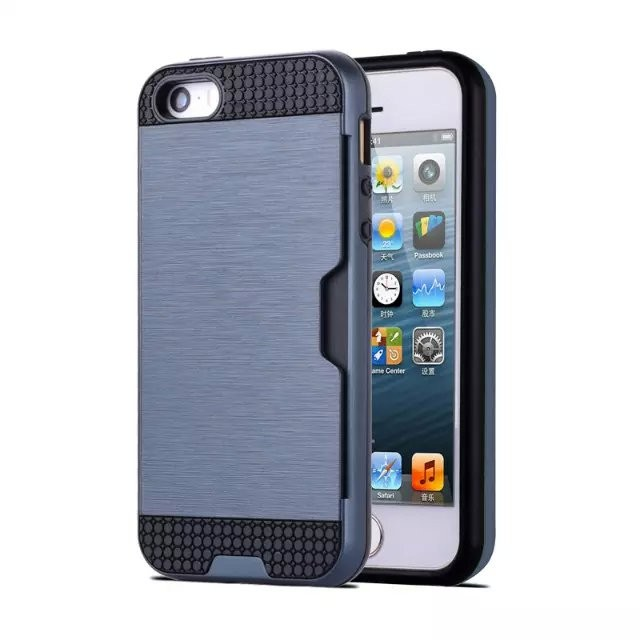 Brushed Metal Back Rugged Card Slot Hard Cover Case For iPhone 5 5G 5S