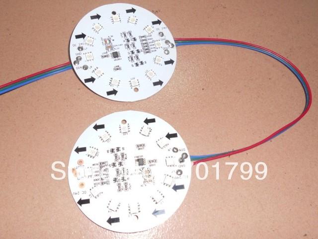 non-waterproof DC24V WS2811 pixel module, with 12pcs 5050 RGB SMD LED,85mm diameter pcb,20pcs a string