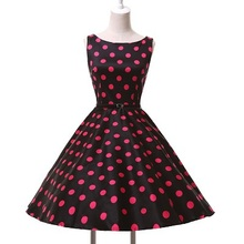 Plus size women dress Summer style Polka dot print cotton vestidos Grace Karin sleeveless 60s 50s Rockabilly Dresses 2016 Casual(China (Mainland))