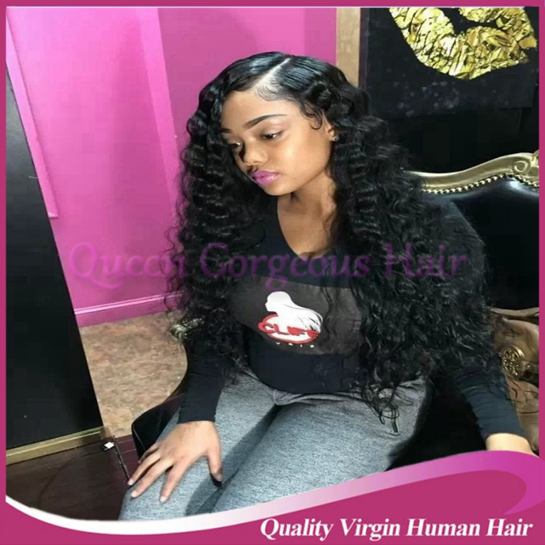 Jet black color deep wave 26inch glueless full lace wig&amp;discount lace front wigs peruvian virgin human hair for black women<br><br>Aliexpress