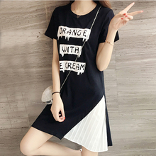 Buy 2017 Summer 5XL 4XL 3XL Women Plus size Dress Fashion Short Sleeve Letter Print Pleated Chiffon Patchwork Black Big size Dresses for $13.99 in AliExpress store
