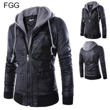 Size M-XXL HOT Selling Men Motorcycle Black PU Faux Leather Coats with Hooded Mens Slim Fit Jackets Men's Jackets and Coats(China (Mainland))