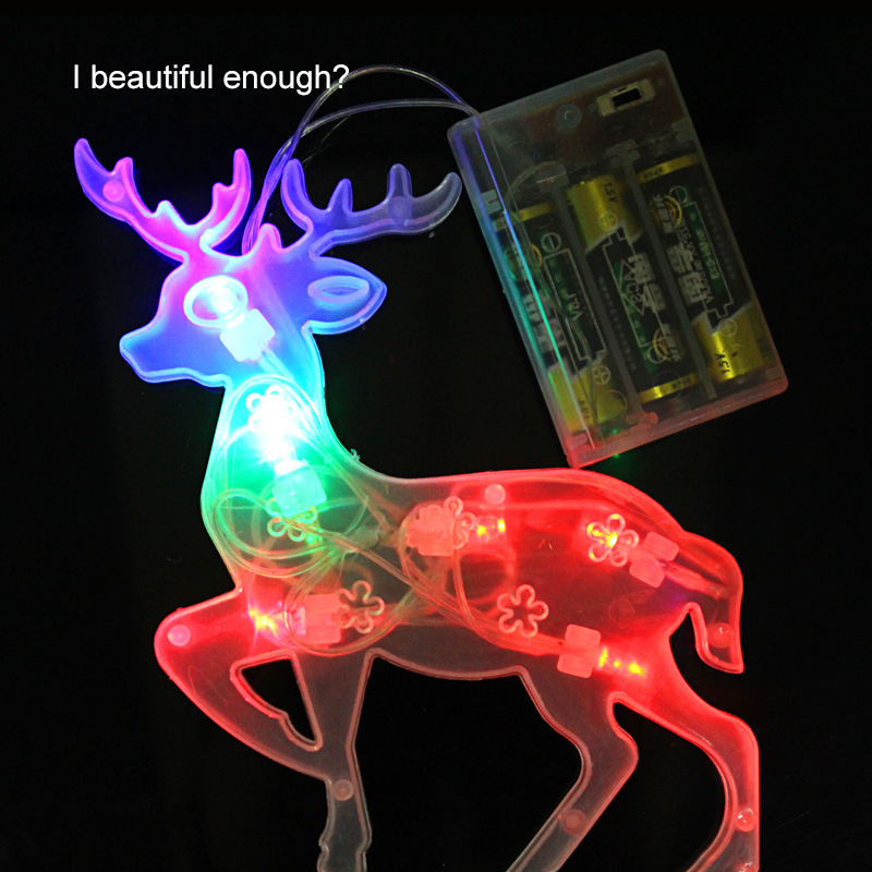 10pcs Holiday Christmas tree animal decoration deer wapiti lamp elk light home by 3*AA batteries(China (Mainland))