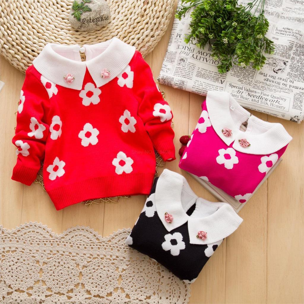 2014 new autumn  female children's girl clothing plum blossom crew neck sweater children sunflowers sweater(China (Mainland))