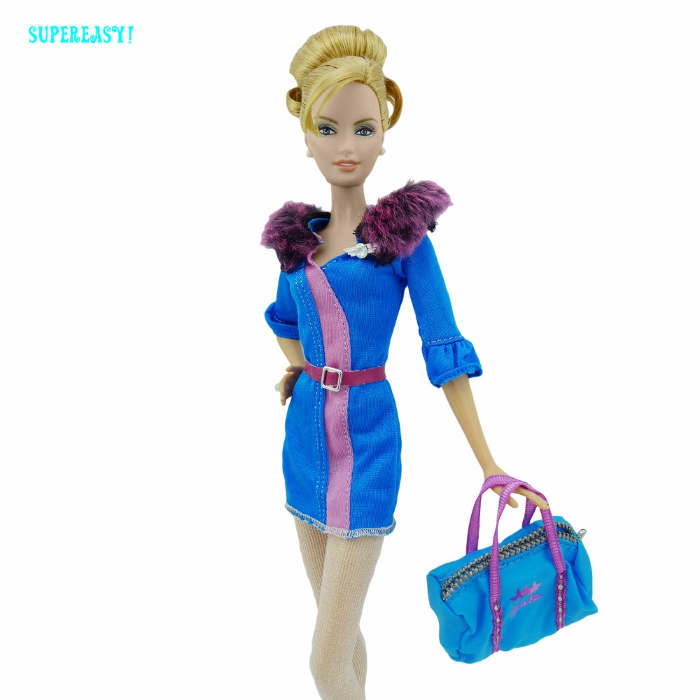 Air Hostess Uniform Gown Stewardess Outfit Purple Fur Collar Gown Stockings Purse Sneakers Garments For Barbie FR Doll xMas Reward