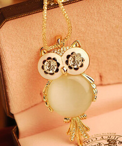 Hottest Gold/Silver Owl Crystal Necklace Jewelry,Colorful Crystal Rhinestone Necklace Cheap Jewelry Wholesale(China (Mainland))