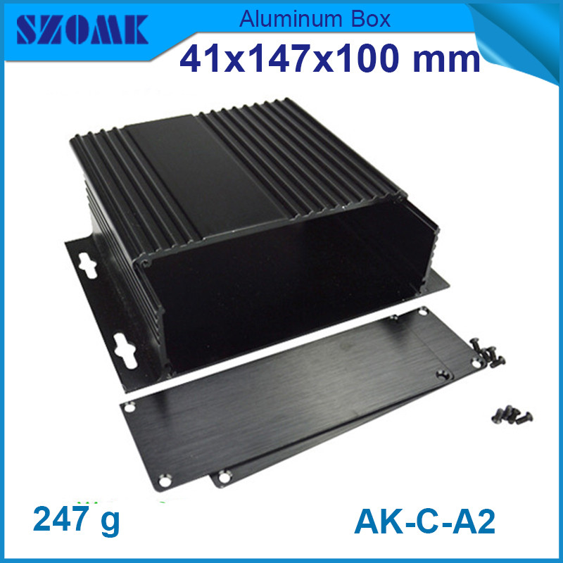 wall mounted aluminum profiles (4pcs/lot) black distribution box for electronics 41x147x100mm<br><br>Aliexpress