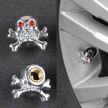 "1pcs Cool Universal Car Truck Bike ""Skull"" Tire air Valve Stem Caps Wheel Rims wheel tyre cover free shipping(China (Mainland))"
