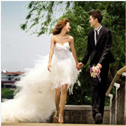 Women's High Grade Front Short and Back Trailing Style Sweet Princess Wedding DressBride Feather Wedding Gown PD0027