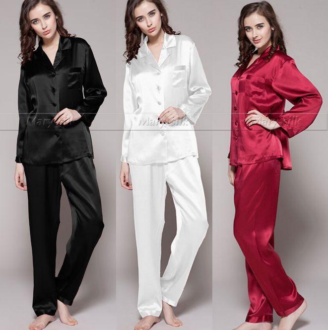 Gift! Womens Silk Satin Pajamas Set Pajama Pyjamas PJS Sleepwear Loungewear U.S.S6,M8,M10,L12,L14,L16,L18 Plus Solid(China (Mainland))
