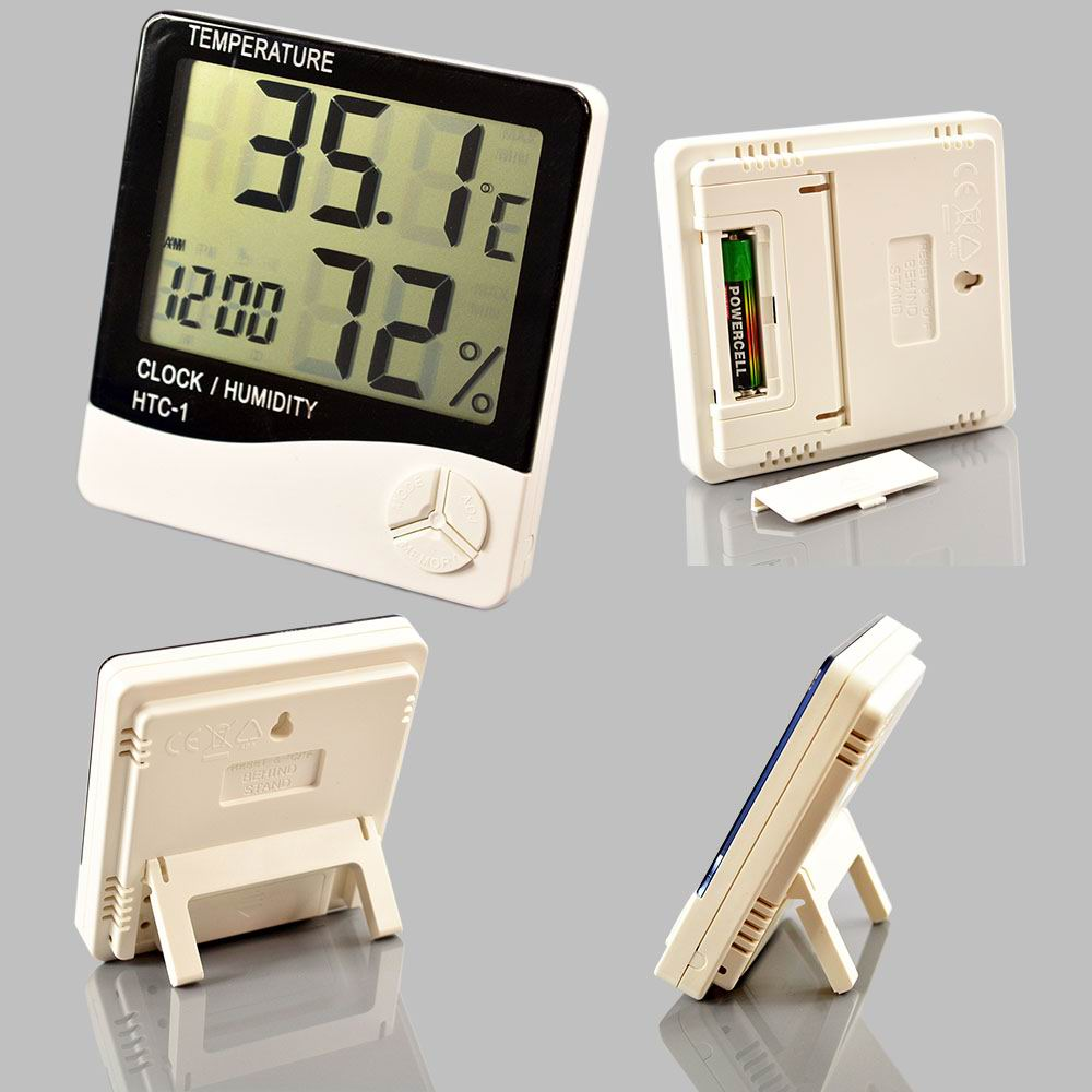 HTC-1 Digital LCD Temperature Humidity Meter Indoor/Outdoor Room Thermometer Clock Hygrometer with sensor(China (Mainland))