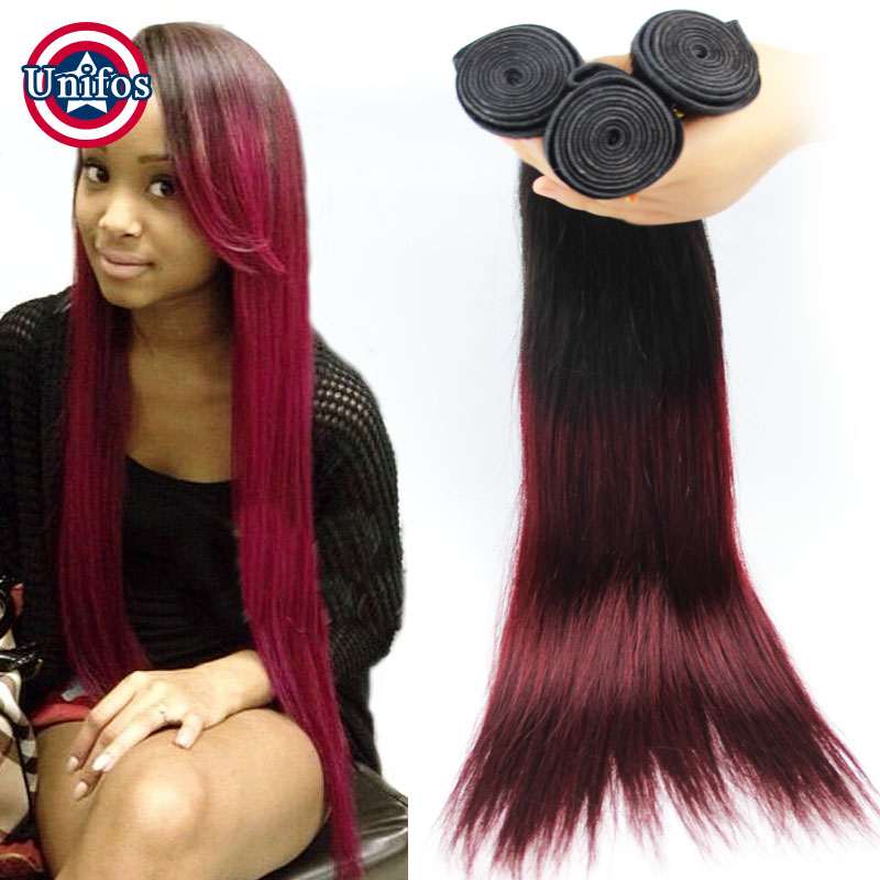 3 pcs Brazilian Ombre Hair Extensions Two Tone Silk Straight Human Hair Weave Straight Ombre Burgundy Hair Women Remy Hair Weft<br><br>Aliexpress