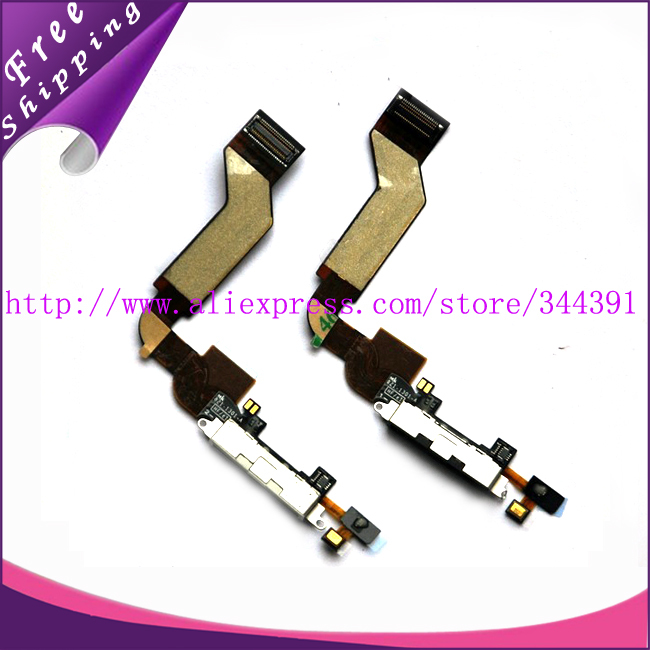2 100% Guarantee Original Charger Dock Connector Flex Cable iPhone 4S White&Black colour