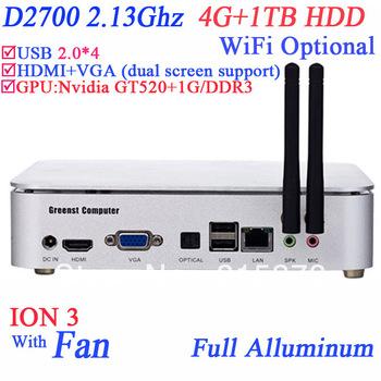 mini computer htpc share 4G RAM 1TB HDD with Intel Pinetrail D2700 2.13Ghz dual core ION 3 Nvidia GT520 1G full alluminum case