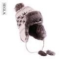 SEGLA Zipper Breathable Bomber Hats Scarf Two Pieces Set Russian Ushanka Ear Flaps Men Winter Windproof Cycle Skiing Trapper Cap