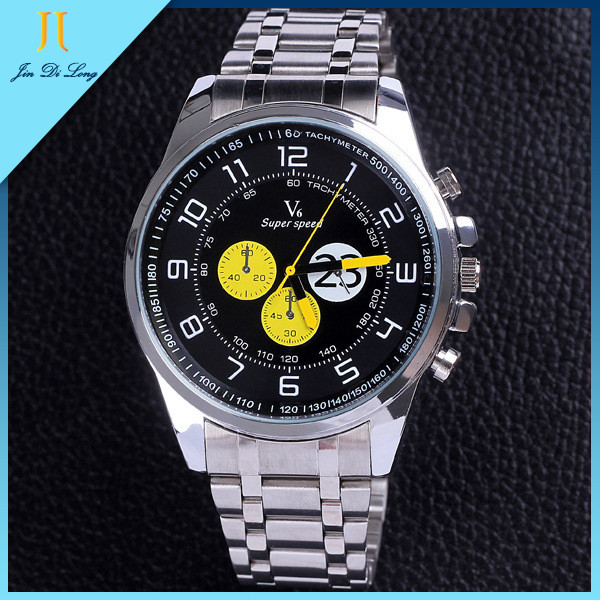 2015 New Mens None Brand Black Color Dial Stainless Steel Band Folding Clasp With Safety Buckle Casual Business Watch<br><br>Aliexpress
