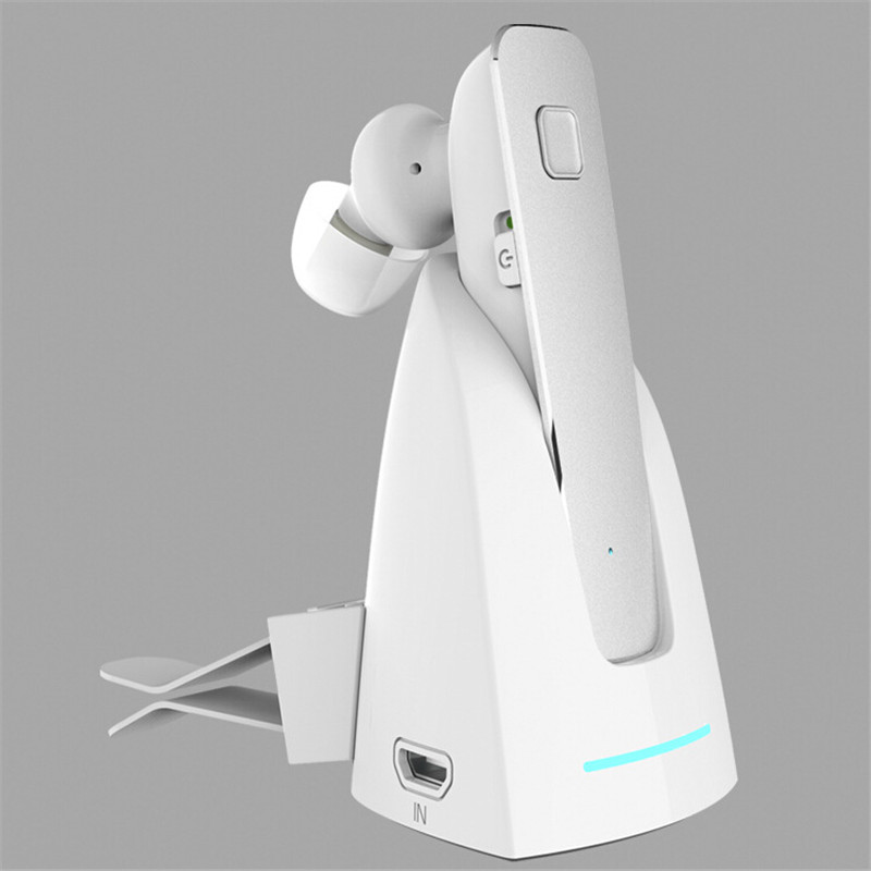 High Quality Newest 1PCS R6100 Stereo Car Bluetooth Headphone headset Handfree pick/hang up Phone Earphone with Charging Dock(China (Mainland))