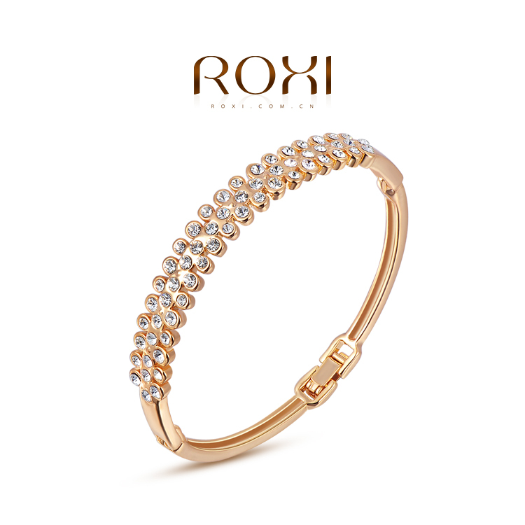 Free shipping 2015 Fashion Bangles/Exquisite rose golden intensive mosaic Bangles/Genuine Austrian Crystal/Hot Sale/High quality(China (Mainland))