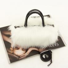 White and black color small fashion handbag woman bag winter plush girl bag