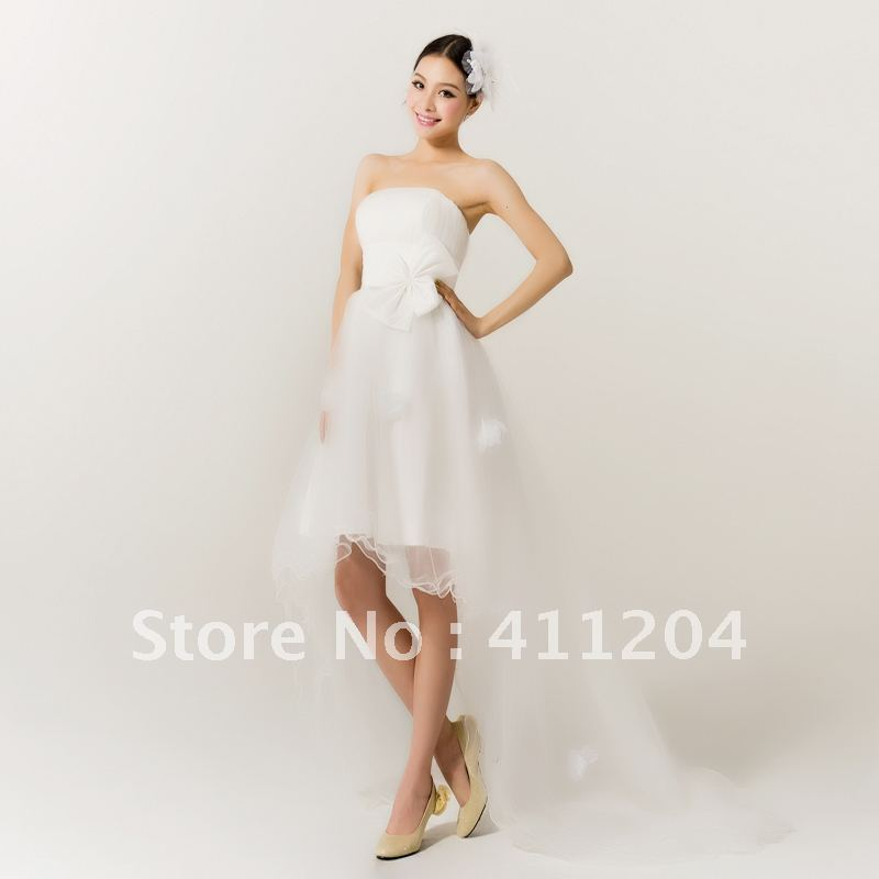 Tube Top Train Wedding Dress Short Front Long Back Wedding 2012 Beading Race