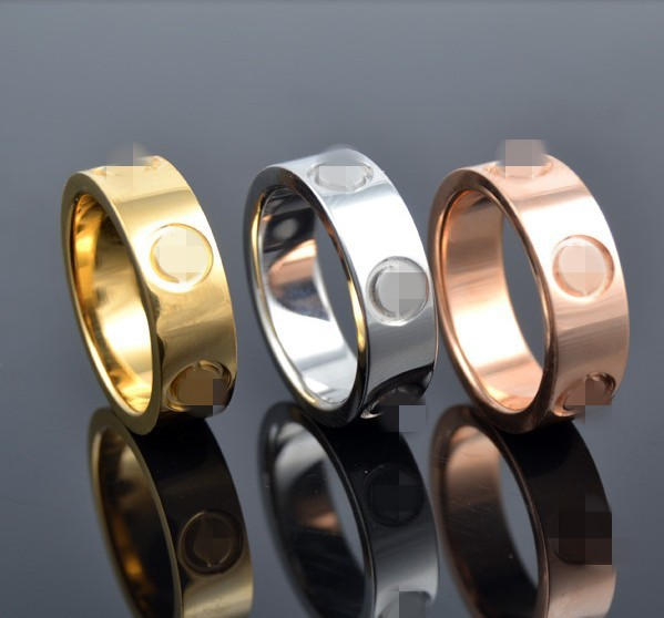 Famous Brand wedding jewelry forever 6mm screw gold love rings for men women 18K Gold filled white / rose gold USA size 6-14(China (Mainland))
