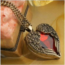 NK102  New 2014 Hot Fashion Long Vintage Red Heart Pendants Necklaces Jewelry Accessories