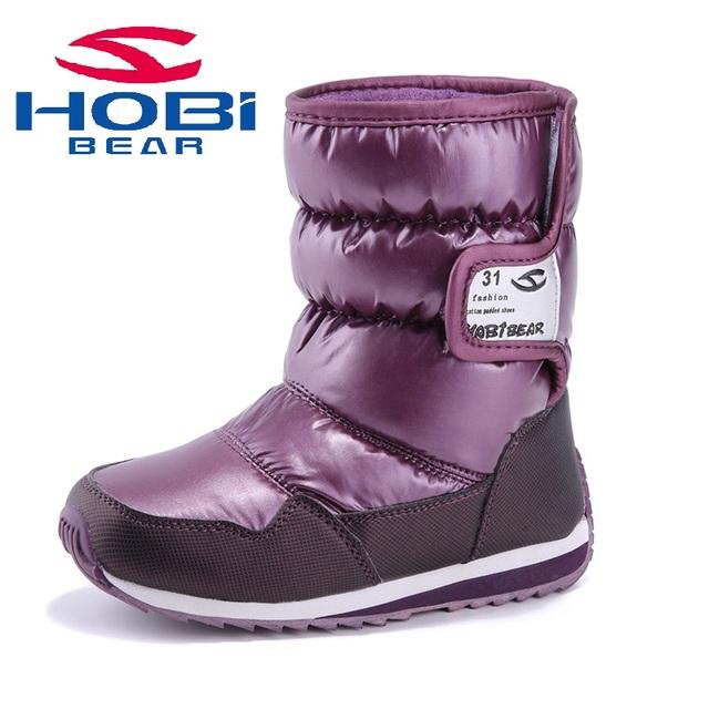 Hobibear бренд 2016 дети мальчики и девочки сапоги водонепроницаемый дети зимний ...