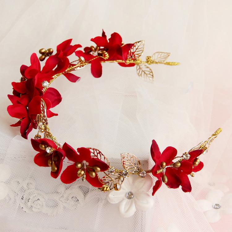 gold red flower crystal headbands headpieces wedding hair accessories bridal jewelry rhinestone headband free shipping T53(China (Mainland))