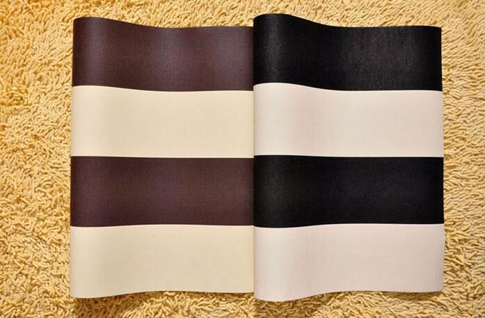 acheter gros pvc 10m rouleau papier peint imperm able moderne noir blanc marron bandes. Black Bedroom Furniture Sets. Home Design Ideas
