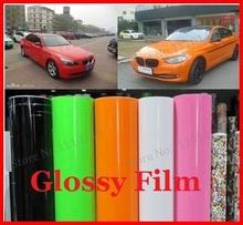 1 pc 1.52MX0.5M Glossy vinyl film bright Glossy car warp sticker with bubble free FREE SHIPPING(China (Mainland))