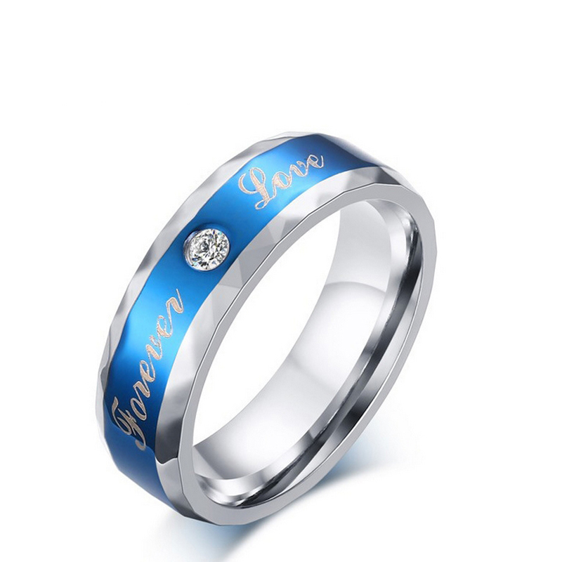 316L Stainless Steel Finger Rings blue Men's titanium steel blueornaments High Quality AAA CZ men jewelry Size 7-12 bague(China (Mainland))