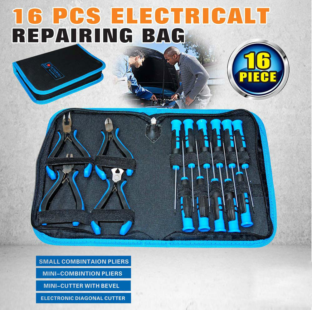 16pcs Pliers New Arrival Sale Kit Gator Grip electrician Screwdriver Set Hand Tool Repair Bag Multifunction Waist AD1026(China (Mainland))