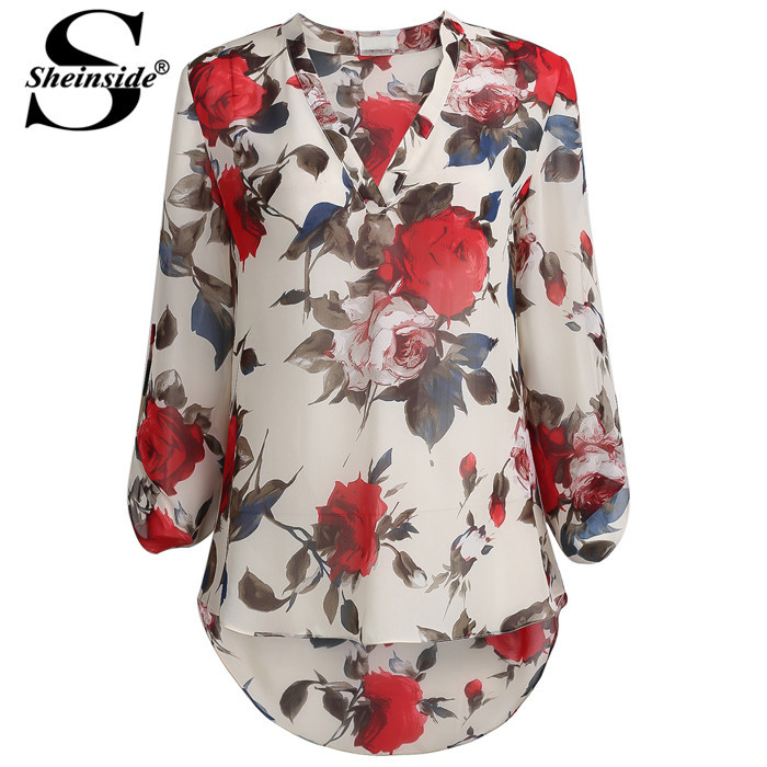 Sheinside Women Clothing Fashion 2015 Free Shipping Hot Sale Casual Tops Apricot Long Sleeve Floral Print Blouse(China (Mainland))