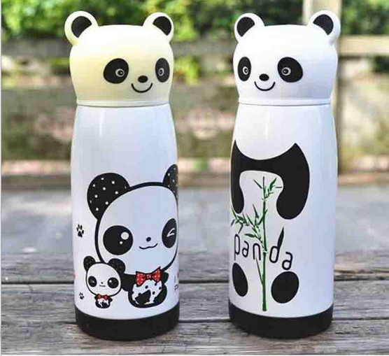 Stainless Steel Cute Water Bottle Coffee Thermos Cups Mugs Isotherme 350ml Thermocup panda vacuum cup(China (Mainland))