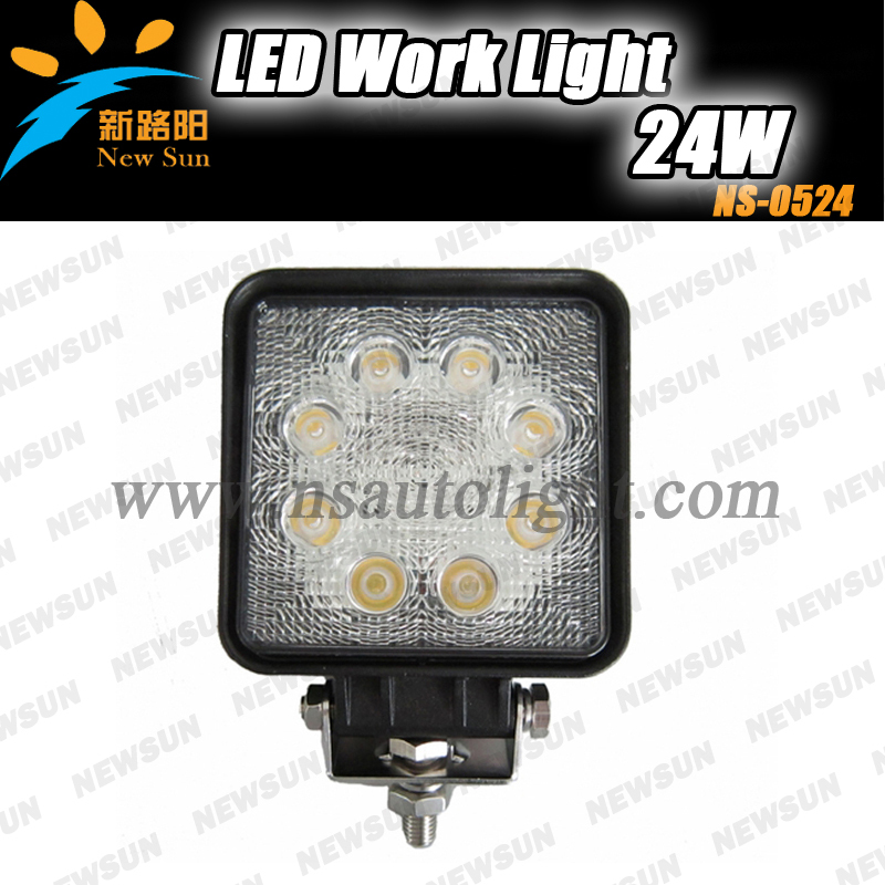 High Quality 24w led truck work lights,led work light for offroad, heavy duty machine,motocycle 24w led auto car work light(China (Mainland))
