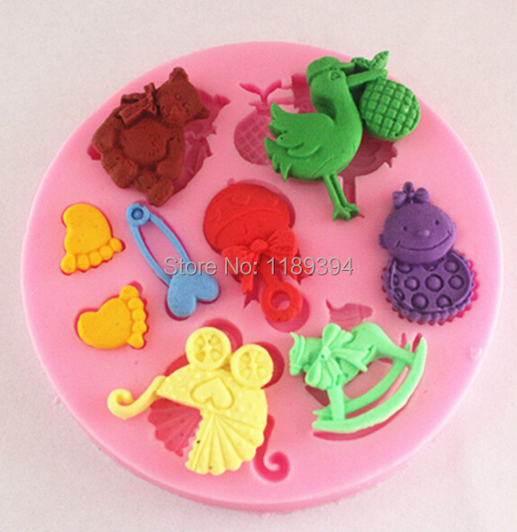 Baby Shower Cake Decoration Molds : mini Baby shower F0484 Fondant Mold Silicone Sugar mold ...