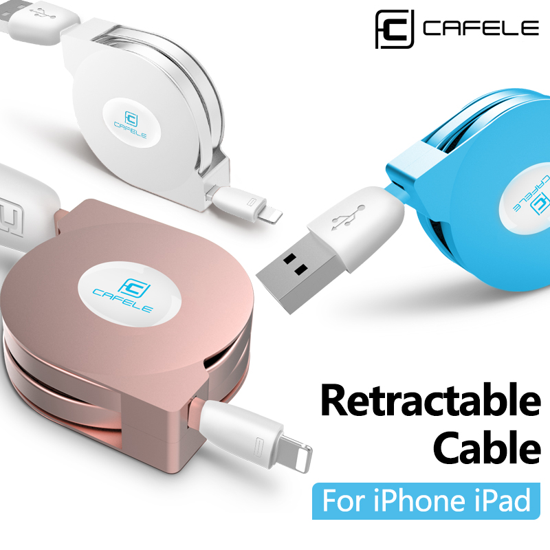 CAFELE 1m Retractable For IPhone Cable IOS 8 9 mobile phone cables Flat Usb cable Charger Sync Data Cable For iPhone 6 5 5s ipad(China (Mainland))