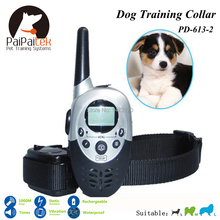 New 1000M Range Remote Manual Control Electric Dog Training Collar For 2 dogs Shock+Vibra+Electric+LCD Display Anti Bark Collar(China (Mainland))