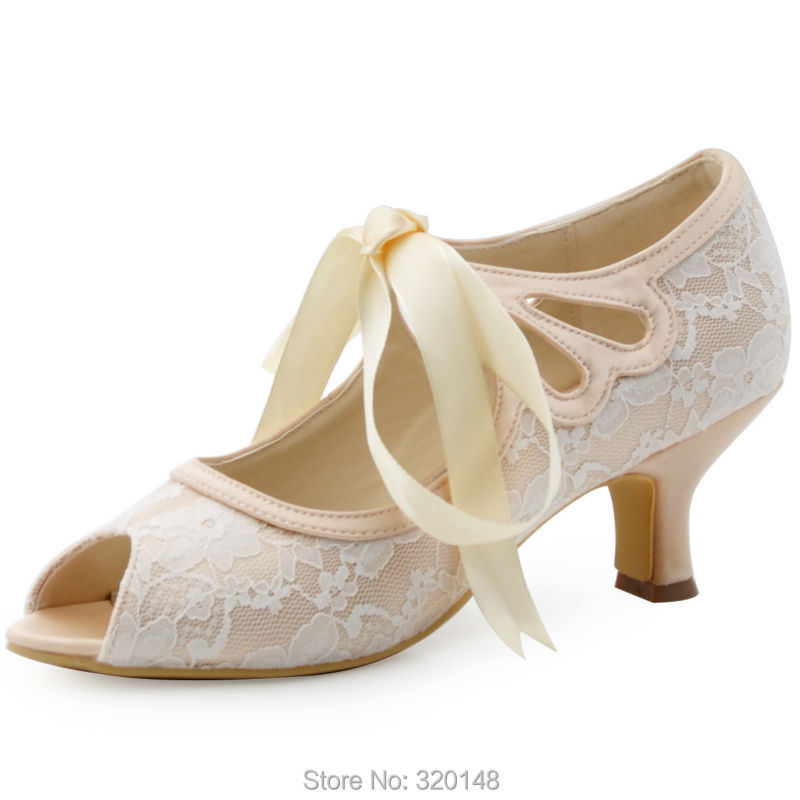 HP1522 Women Peep Toe Mary Jane Ribbon Tie Mid Heel Lace Lady Bride Bridal Wedding Shoes Bridesmaid Prom Evening Pumps Champagne