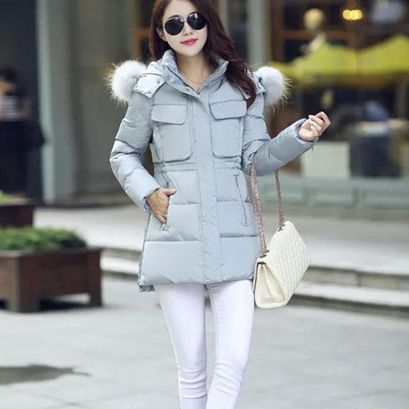 2015 Winter Coat Women Down Cotton Long Slim Hooded Fur Collar Coat Jacket Parka HFF290