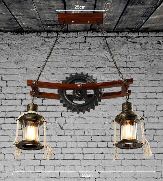 American Industrial Country Personality Creative Iron Wood Antique Restaurant Pendant Light Coffee Shop Bar Light Free Shipping<br><br>Aliexpress