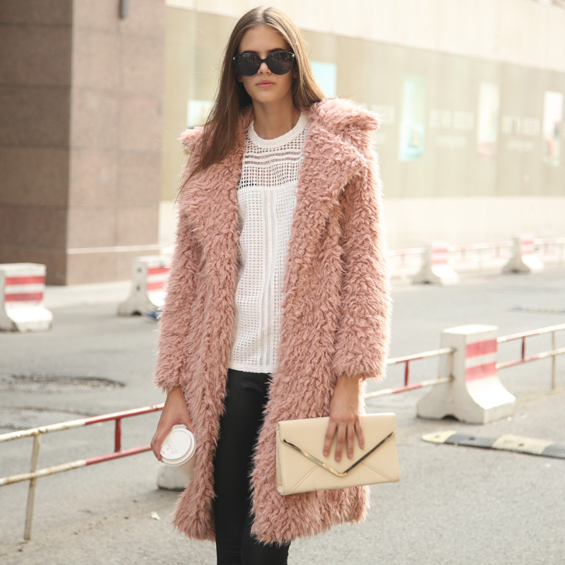 Popular Faux Fur Long Coat Grey Pink-Buy Cheap Faux Fur Long Coat