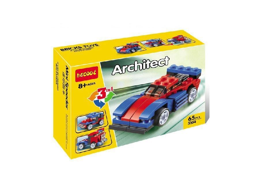 Decool 3104 Architect series CREATOR 3 in 1 SET Mini Speeder Race car Semi Truck Jeep off-road 3D Building block sets toys(China (Mainland))