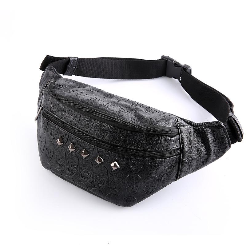 Cool skull bags,black rivets motorcycle bags,leather waist bag,punk style man summer purses,boys shopping bags,bolsas sac homme(China (Mainland))