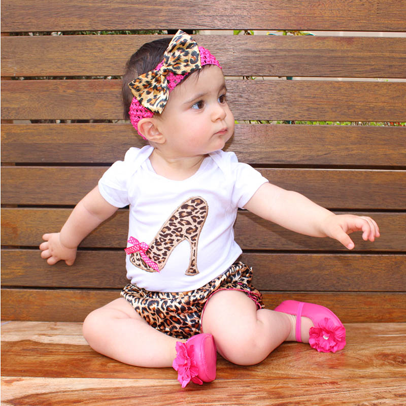 Set for Baby Newborns 2015 Summer 100% Cotton Short Sleeve Leopard Bodysuit + Pants + Headband Ruffles Baby Girl Clothing Sets(China (Mainland))
