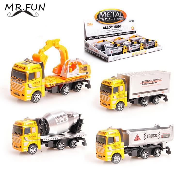 12pcs Educational kids toys Mini Truck Model Plastic baby toy truck/Cement truck/excavator DIY brinquedos car juguetes brinquedo(China (Mainland))